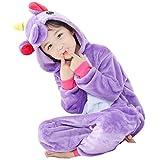 Gwell Unisexe Animal Pyjama Animaux Enfant Combinaison Cosplay Outfit Vêtements de Nuit Déguisements Hiver Chaud Costume de sommeil Filles Garçons violet