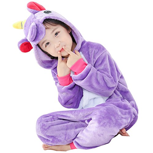 GWELL Kinder Einhorn Kostüme Tier Tieroutfit Cosplay Jumpsuit Schlafanzug Mädchen Jungen Winter Nachtwäsche lila Körpergröße (Kind Einhorn Kostüme)