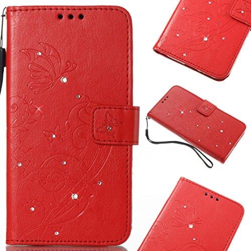 Samsung Galaxy A3 2017 Hülle, Galaxy A3 2017 Schutzhülle,Alfort Lederhülle Geprägter Schmetterling Bling Kristall PU Leder Tasche Wallet Case Cover für Samsung A3 2017 Smartphone (Rot)