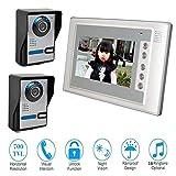 QZH Interphone vidéo,système de contrôle d'accès avec interphone de 7 Pouces,Sonnette vidéo Filaire,déverrouillage/Appel à Un Bouton,Sonnette étanche Vision Nocturne,pour Famille,2camera1display