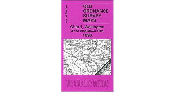OLD ORDNANCE SURVEY MAP CHARD WELLINGTON BLACKDOWN HILLS 1896 ILMINSTER YARCOMBE