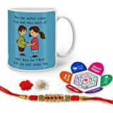 Indigifts Raksha Bandhan Gifts For Brother Blessing From Sis Quote Printed Gift Set Of Mug 330 Ml, Crystal Rakhi For Brother, Roli, Chawal & Greeting Card - Rakhi Gifts For Brother, Rakshabandhan Gifts, Rakhi For Brother With Gifts