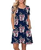 Yidarton Sommerkleid Damen Casual Lose Kurzarm T-Shirt Kleider Elegant Boho Blumen Strand Kleider mit Taschen(NA,m)