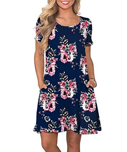 Yidarton Sommerkleid Damen Casual Lose Kurzarm T-Shirt Kleider Elegant Boho Blumen Strand Kleider mit Taschen(NA,XXL)