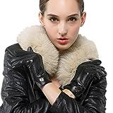 Nappaglo Damen klassische Handschuhe aus echtem Nappaleder Reines Kaschmir-Futter Winter Warm Handschuhe (S (Umfang der Handfläche:16.5-17.8cm), Schwarz(Non-Touchscreen))