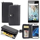 K-S-Trade 2in1 Handyhülle für Cubot P11 hochwertige Schutzhülle & Portemonnee Tasche Handytasche Etui Geldbörse Wallet Case Hülle schwarz