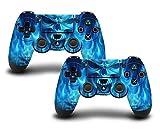 #9: PS4 controller skin ( sticker ) of Blue skull. ( Blue white )