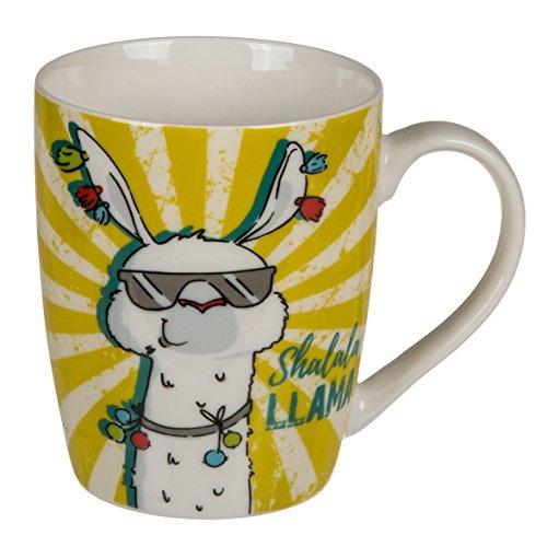 Lama Kaffeebecher 'Llama', in vier Farben, orange, schwarz, gelb, blau, je ca. 300 ml, witziges Dekor und Lama-Sprüche, für den fröhlichen Frühstückstisch oder zur Kaffeetafel beim Kindergeburtstag., Farbe:gelb