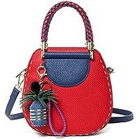 YANHTSO Pequeño Bolso Redondo portátil Afilado/Bolso / Bolso de Moda de un Hombro, Material de la Textura de la Lichi (Color : Red)