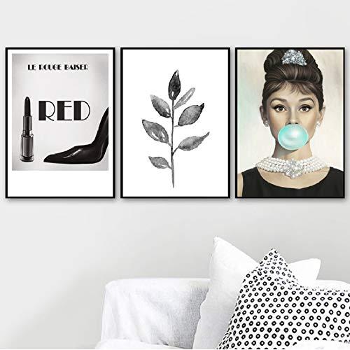 Hut Audrey Hepburn Kostüm - XWArtpic Roter Lippenstift High Heels Audrey Hepburn Wandkunst Leinwand Malerei Nordic Poster Und Drucke Wandbilder Für Wohnzimmer Decor X 60 * 100cm