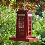 Kingavon Traditional Novelty Police Phone Box Wooden Garden Hanging Bird Feeder Red