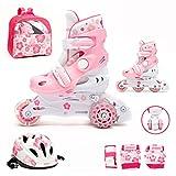 Kinder Inliner Inline Skates für Anfänger verstellbar Set Triskates mit Schutzset Helm Rucksack Rollschuhe Mädchen Jungen (S (30-33), rosa)