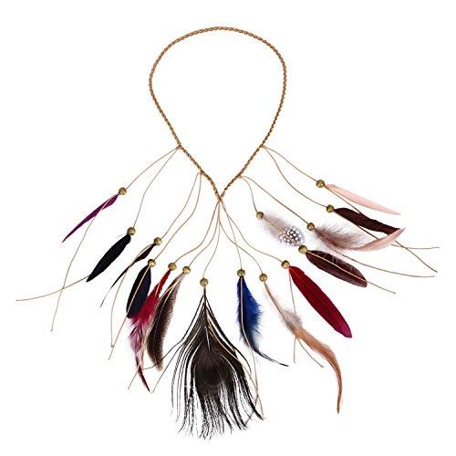 Petalum Böhmische Pfau Feder Kopfschmuck Stirnband Flechten Haar Band Stirnband Blei Seil für Abendkleider Fasching Karneval Fastnacht (A)