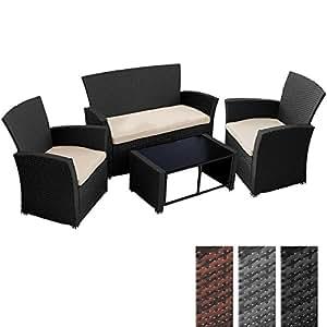 Miadomodo Set divano in polyrattan arredo giardino 4 pezzi inclusi cuscini sedile (nero)