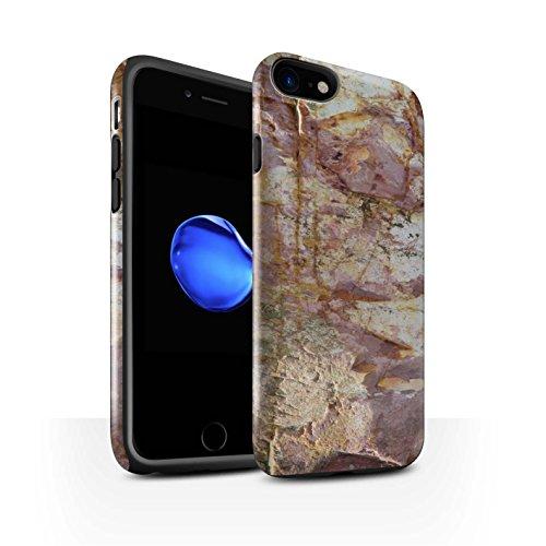 STUFF4 Glanz Harten Stoßfest Hülle / Case für Apple iPhone 8 / Steinboden/Orange Muster / Stein/Rock Kollektion Erodiert