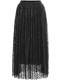 AVSUPPLY Falda Larga Plisada Mujer Vintage Cintura Alta Encaje Elástica  A-Line Elegante Ceremonia Casual de9613932ad3