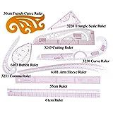 Plástico Fashion Regla Juego variar Forma 30cm French Curve Triángulo Regla multifunción Regla Button Curve Arm Sleeve Graduado, 55cm, B97Regla Costura de Juego (centímetros/pulgadas), 9 rulers