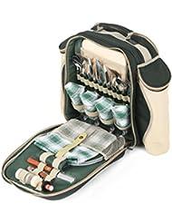 Greenfield Collection Deluxe - Mochila de picnic para cuatro personas, color verde bosque