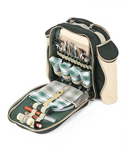 greenfield-collection-deluxe-mochila-de-picnic-para-cuatro-personas-color-verde-bosque