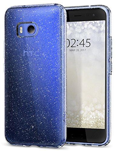 HTC U11 Hülle, Spigen® [Liquid Crystal] GlitzerDesign [Crystal Quartz] Glänzende Soft Flex Premium TPU Silikon Bumper Style Handyhülle Perfekte Passform Schutzhülle für HTC U11 Case, HTC U11 Case Cover Crystal Quartz (H11CS21940)
