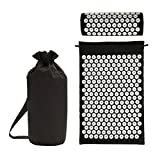 TOHMLAPE Acupressure Mat & Pillow Set/Acupuncture Mat Spike Yoga Mat for Massage Wellness Relaxation and Tension Release Yoga Relax Stress Pain Relief Pad with Carry Bag Black