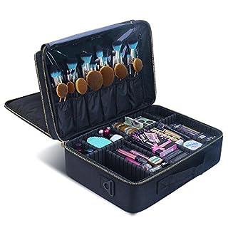 Make-up-Koffer Make-up Reisetasche, MLMSY Kosmetiktasche mit Gold Zipper Make-up Pinsel Organizer Portable Wasserdichte große Make-up Tasche Kulturbeutel für Frauen oder Männer (Große)