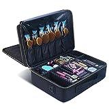 Makeup Case Makeup Travel Bag, MLMSY Cosmetic Bag with Gold Zipper Makeup Brushes Organizer Portable Waterproof 2 Layer Large Makeup Bag Toiletry Bags for Women or Men (Large)