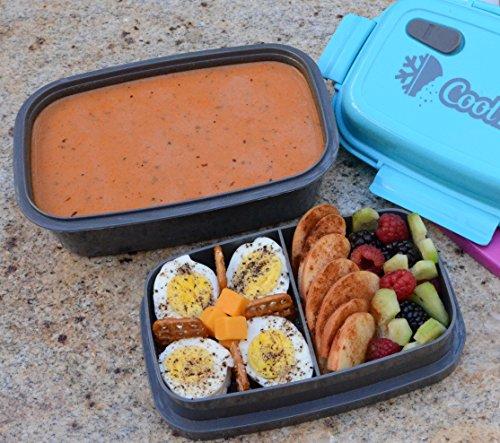 CoolBites Porta Pranzo Stile Bento box con Pacchetto del Ghiaccio Congelabile - Fino a 4 Contenitori