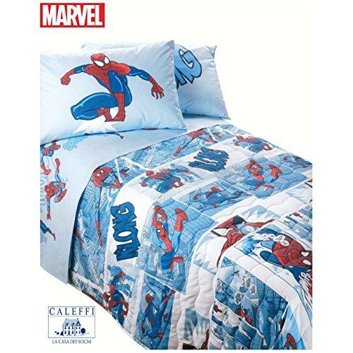 Spiderman fumetto marvel copriletto trapuntato caleffi piazza e mezzo - azzurro