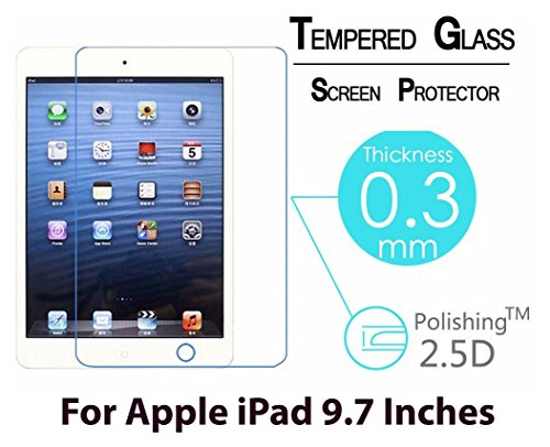 CASSIEY Amazing PRO+ 0.3 mm 2.5D 9H Hardness Anti-Explosion Tempered Glass Phone HD Screen Protector For Apple iPad Air / Apple iPad Air 2 / Apple iPad Pro 9.7 / Apple iPad / Apple iPad 2 - Retail Packaging - Transparent With all Finger Print Sensor , Light Sensor , Camera Cutting and Installation Kit with Advanced Dust Remover
