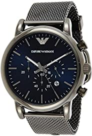 Emporio Armani Men's Blue Dial Stainless Steel Analog Watch - AR