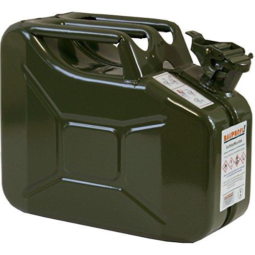 10 Liter Benzinkanister Metall GGVS mit Sicherungsstift oliv Armee Stahlblech