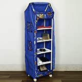 NHR Multipurpose Foldable Baby Wardrobe With Baby Print (6 Shelves, Blue)