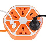 #8: Azacus Hexagon Multi Plug Heavy Duty Extension Board for Computer 2 Meter Wire with USB Port Charger (2500 Watt) | One Year Product Replacement Warranty