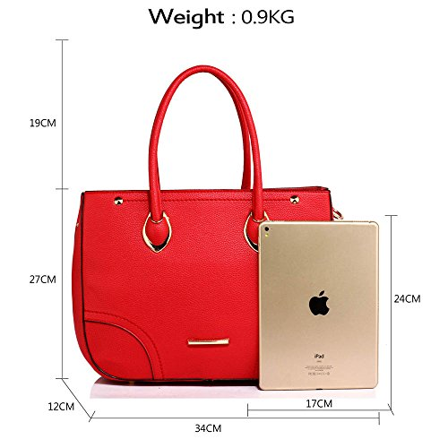 Femmes sac d'épaule pour Dames designer des sacs à main nouveau style pour les filles chaudes vente faux cuir sac (A - Kaffee) A - Rot