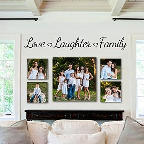 """Custom design vinile adesivi da parete di adesivo da parete citazioni famiglie con cuori Decals Amore ridere famiglia Love Laughter Family, vinilico, custom, 7""""hx57""""w"""