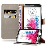 Cadorabo Hülle für LG G3 - Hülle in Cappucino BRAUN – Handyhülle im Luxury Design mit Kartenfach und Standfunktion - Case Cover Schutzhülle Etui Tasche Book