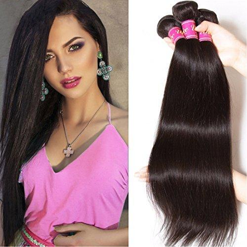 Couleur naturelle 16 18 50,8 cm brésilien cheveux raides 3 trames tissage 100% cheveux humains naturels non traités brésiliens vierges Extensions