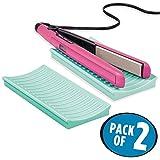 mDesign 2er-Set Matte aus Silikon für Lockenstab und Glätteisen – praktische Auflage für den Waschtisch – schützende Ablage für erhitzte Haarstyling-Geräte – hellblau