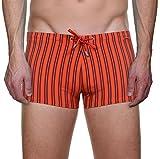 Bruno Banani Herren Badehose Short Beach Stripe, Gr. Small, Orange (orange/bordeuaux stripes 1921)