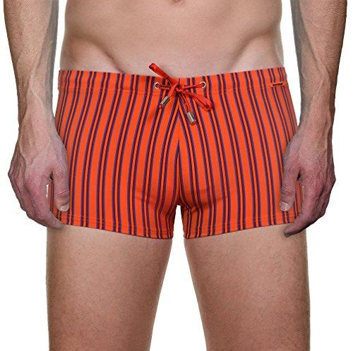 bruno banani Herren Badehose Short Beach Stripe Orange (orange/bordeuaux stripes 1921)