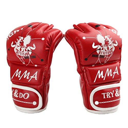 Boxen - Kickboxhandschuh halbe Finger-Handschuhe -MMA ---- Red