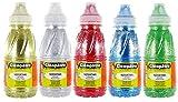 Cléopâtre - GP250x5A - Gel Pailleté - Lot de 5 Flacons 250 ml Or/Argent/Vert/Rouge/Bleu