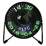 Asosmos Mini USB Fan LED Uhr Mini Fan Schreibtisch Fan Echtzeit-Displays von Zeit und Temperatur 360° Lüfter für Familie, Reise, Outdoor