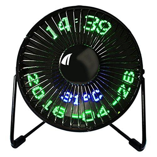 Preisvergleich Produktbild Asosmos Mini USB Fan LED Uhr Mini Fan Schreibtisch Fan Echtzeit-Displays von Zeit und Temperatur 360° Lüfter für Familie,  Reise,  Outdoor