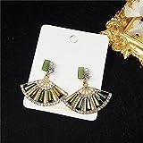 Katylen 925 Aguja de Plata Dulce Arte del Diamante Cristal Metal en Forma de Abanico Pendientes de Perlas Salvaje Flash Ventilador de Diamantes Ornamento de la Oreja, Verde