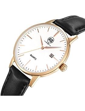 DMwatch Mode Damenuhren Schwarz Leder Uhrarmband Rose Gold Lünette Weiß 34mm Watchcase Wasserdicht Mit Datum Analoganzeige...
