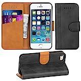 Adicase iPhone 5 Hülle Leder Wallet Tasche Flip Case Handyhülle Schutzhülle für Apple iPhone 5/5S/SE (Dunkelgrau)