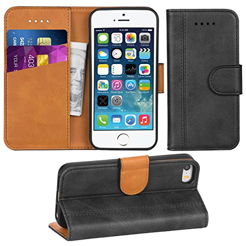 Adicase iPhone 5 Hülle Leder Wallet Tasche Flip Case Handyhülle Schutzhülle für Apple iPhone 5/5S/SE (Dunkelgrau) Leder Apple Wallet
