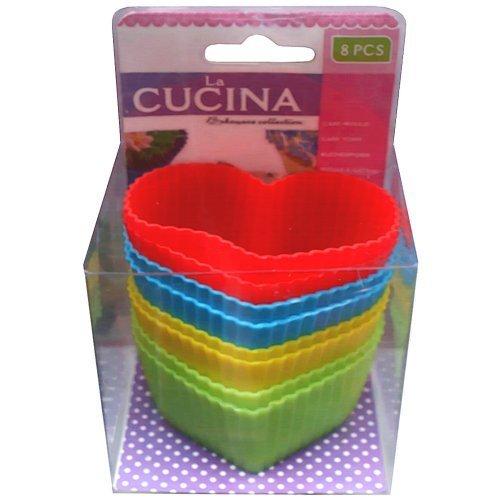 8 Stück Muffin Kuchenformen Herz Silikon Cupcake Form, Backform - Muffinsförmchen, 2220